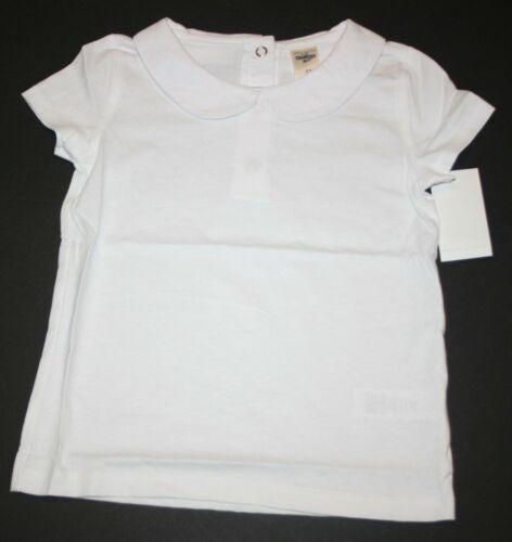 New OshKosh Girls Solid White Peter Pan Collar Shirt Top SS NWT 18 24m 2T 3 4 5T