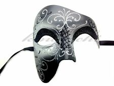 Black Silver Phantom of the Opera Half Face Men Masquerade Mask Prom Party