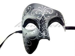 Black Silver Phantom of the Opera Half Face Men Masquerade Mask Prom Party