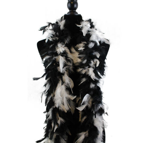 2 Yard Long-Great for Party Wedding Black// White 60 Gram Chandelle Feather Boa