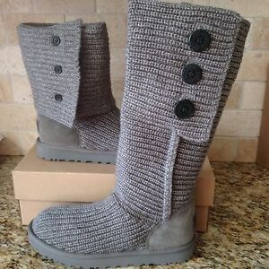 906d94defd1 Details about UGG CLASSIC CARDY BUTTON GREY GRAY KNIT CUFF TALL ANKLE BOOTS  SIZE US 9 WOMENS
