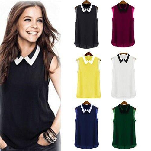 Women Summer Loose Casual Chiffon Sleeveless Vest Shirt Fashion Tops Blouse New