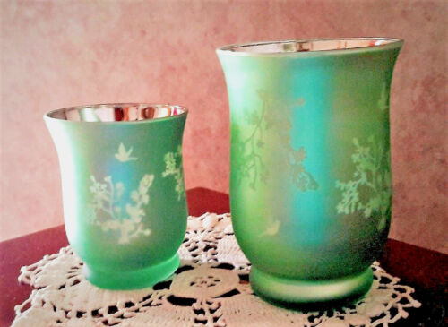 Glass Hurricane Candle Holders Floral Vase Metallic Green Set of 2