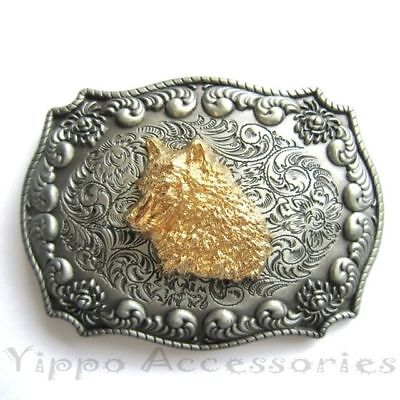 Western Wolf Head Rodeo Double Color Cowboy Metal Fashion Belt Buckle