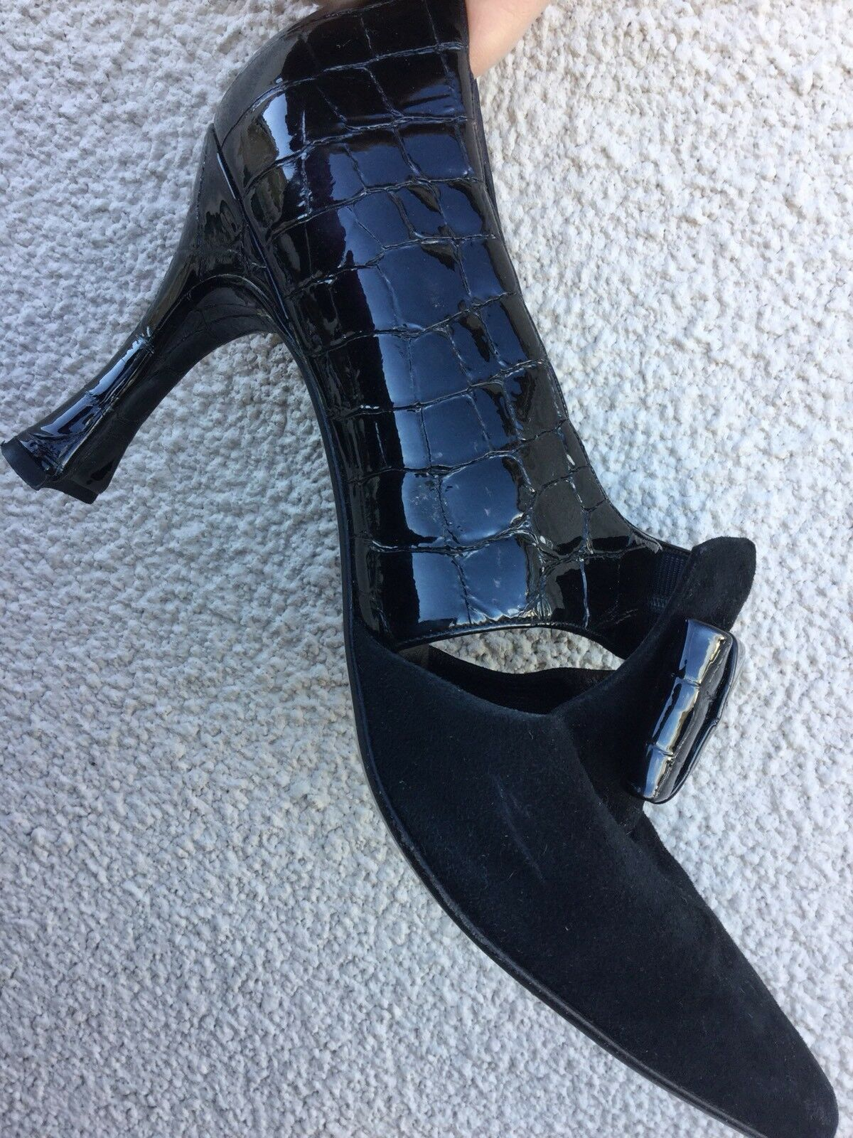 GINA BLACK LEATHER VINTAGE 80s 20s DECO STYLE CROC PATENT HEELS Schuhe 7 40 Sexy