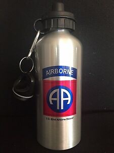 Us Ww2 82nd Airborne Water Bottle Aluminum Silver Finish 20 Oz 600