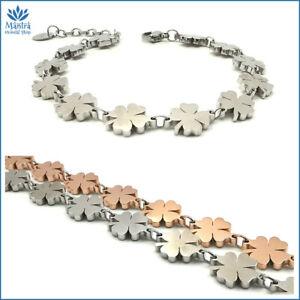 Bracciale da donna braccialetto portafortuna con quadrifoglio in acciaio argento
