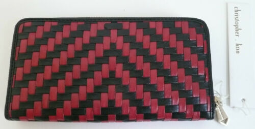 Christopher Kon Alisson Zip Wallet Multi-Color Black Red Woven Leather NWT