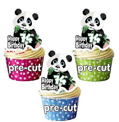 74th Birthday Panda Precut Cup Cake Toppers Ladies Mens Son Daughter Friend Exquisite Traditional Embroidery Art Other Baking Accessories
