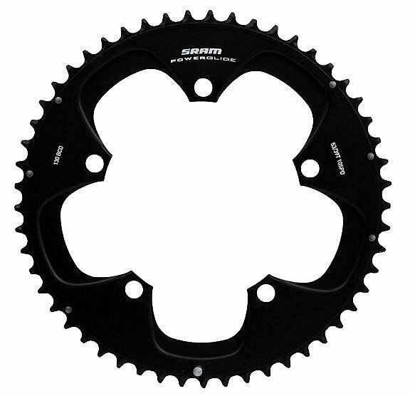 SRAM Rojo Powerglide Chainring 53T, New BCD 130mm, 115g, negro, R03, New 53T, in box 3611ee