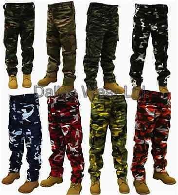 ARMY CARGO CAMO COMBAT TROUSERS FATIGUES PUNK GOTH EMO