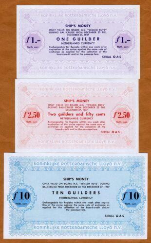 Ship/'s Money Netherlands Set 1957 1;2.50;10 Guilders