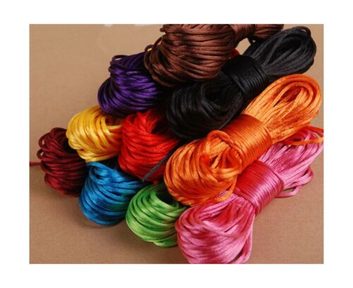 IME 2 MM Bugtail Satin Cord Satin//rattail Silk Cord for Necklace Bracelet Bea...