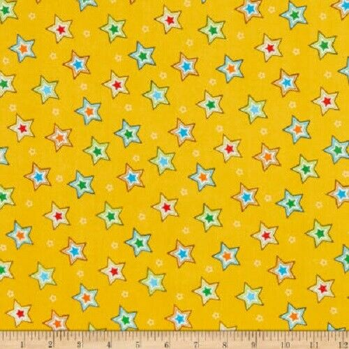 HENRY GLASS PUPPY /& PALS STARS ON YELLOW 100/% BRUSHED COTTON FLANNEL F1594 COL33