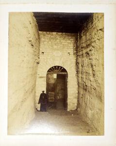 c1880 ANTIQUE ALBUMEN PHOTOGRAPH EGYPT TOMB ENTRANCE SAQQARA HATHOR Goddess
