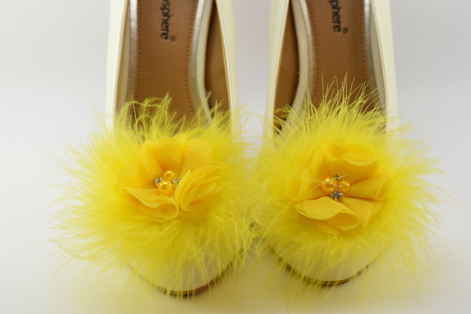 Bridal,Wedding Puff Marabou Feather Flower Rhinestone shoes clips only