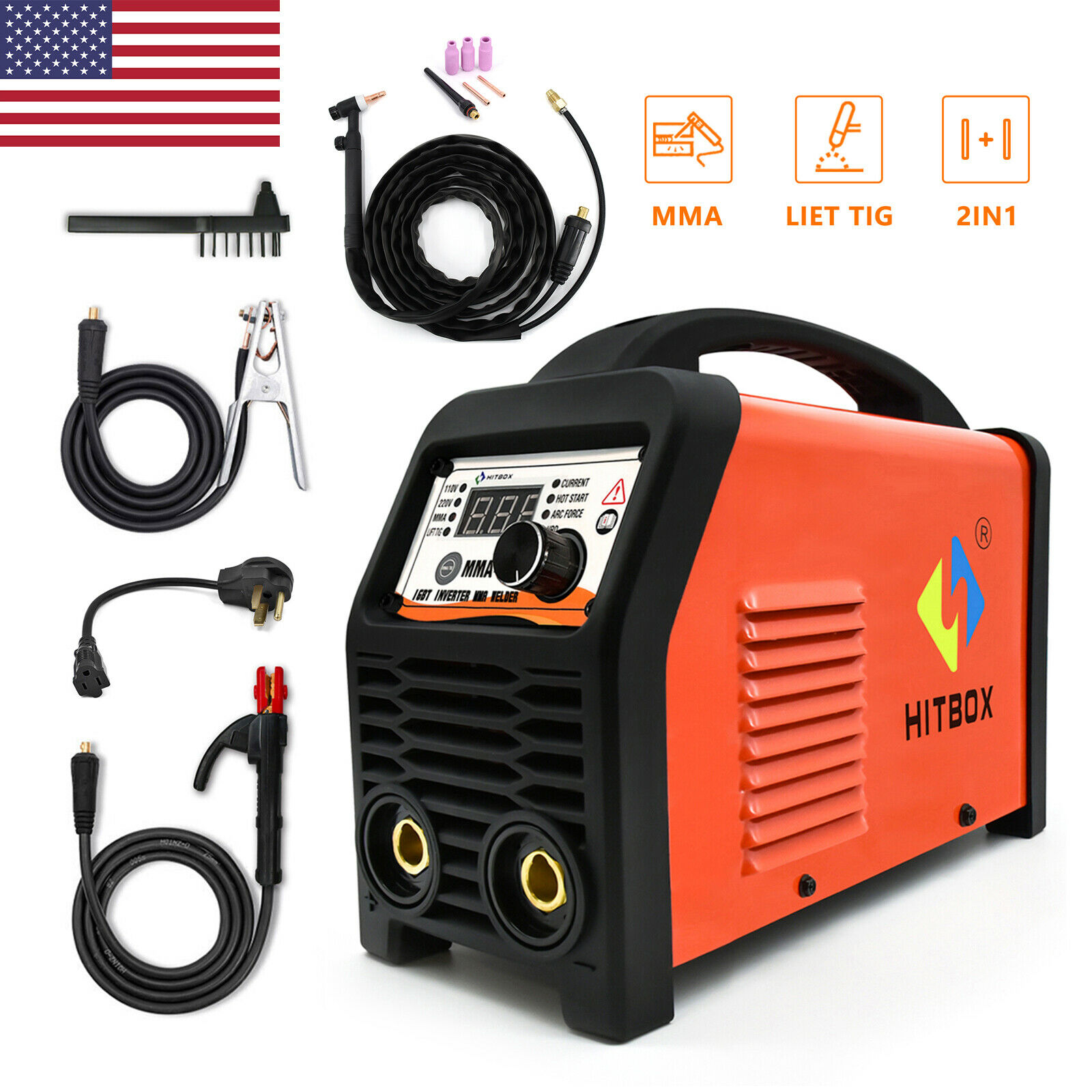 HITBOX ARC STICK TIG 2 IN 1 Welder 110V 220V Dual Volt MMA Welding Machine 200A. Available Now for 168.98