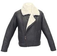 Men's Aviator Cross Zip Cream Shearling Sheepskin Brown Leather Jacket