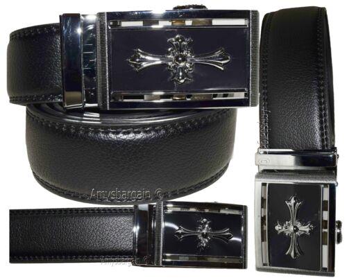 men's belt real leather automatic lock dress casual belt fashion belt up 50 inch