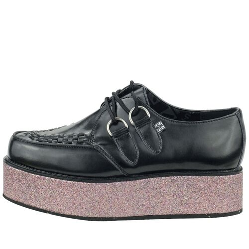 T.U.K. A8638 Rare Tuk Punk shoes Black Glitter Wrapped Platform  Mondo Creepers