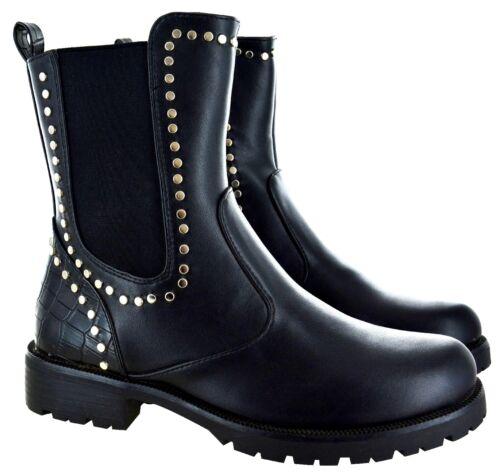 Señoras Mujeres Negro Tachonado Cocodrilo al Tobillo Zapatos Taco de Bloque Chelsea Grueso Botas Sz