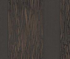 Wow! Vlies Tapete Rasch BROOKLYN 773125 Streifen Baum Rinde schwarz braun Glanz