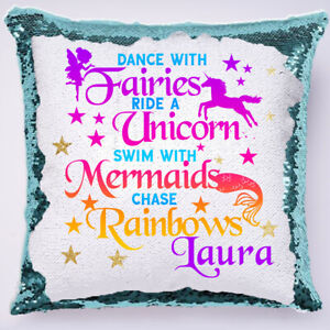 PERSONALISED-Unicorn-Sequin-Cushion-Cover-Magic-Reveal-Christmas-Gift-Pink-bday