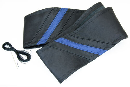 Lenkradbezug schwarz blau echt Leder 37-39 cm zum Schn/üren Lenkrad Schoner