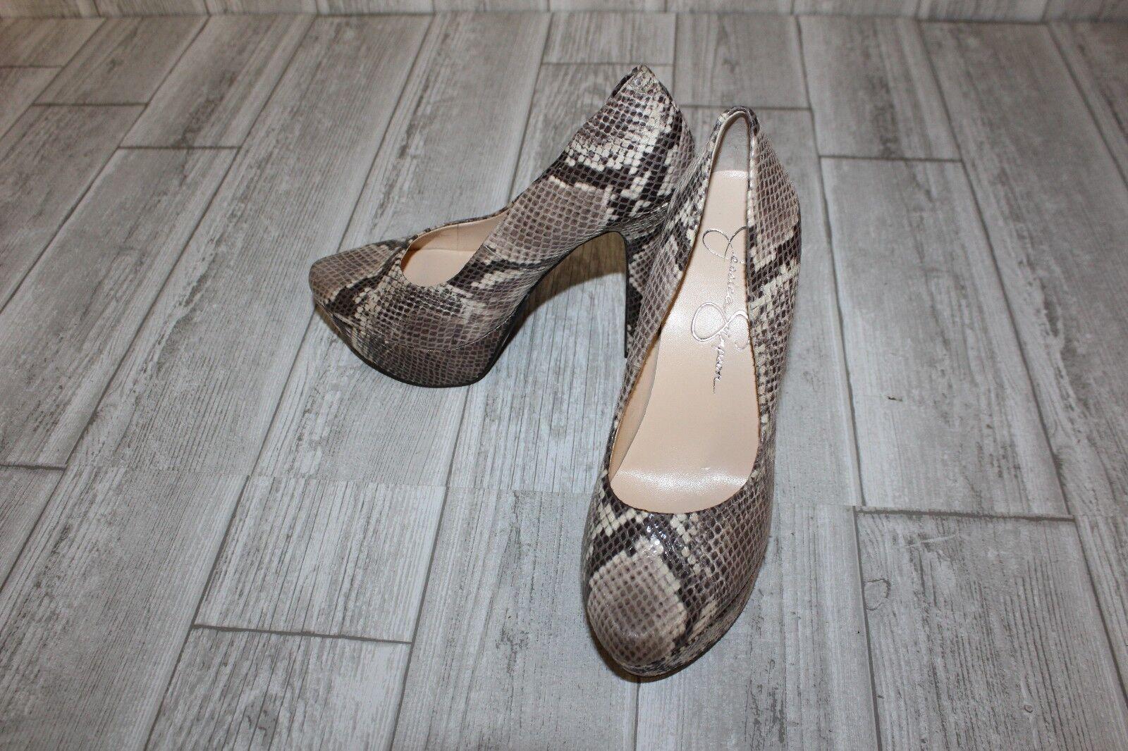 Jessica Simpson Waleo Pumps - Women's Size 6M, Tan Faux-Snakeskin