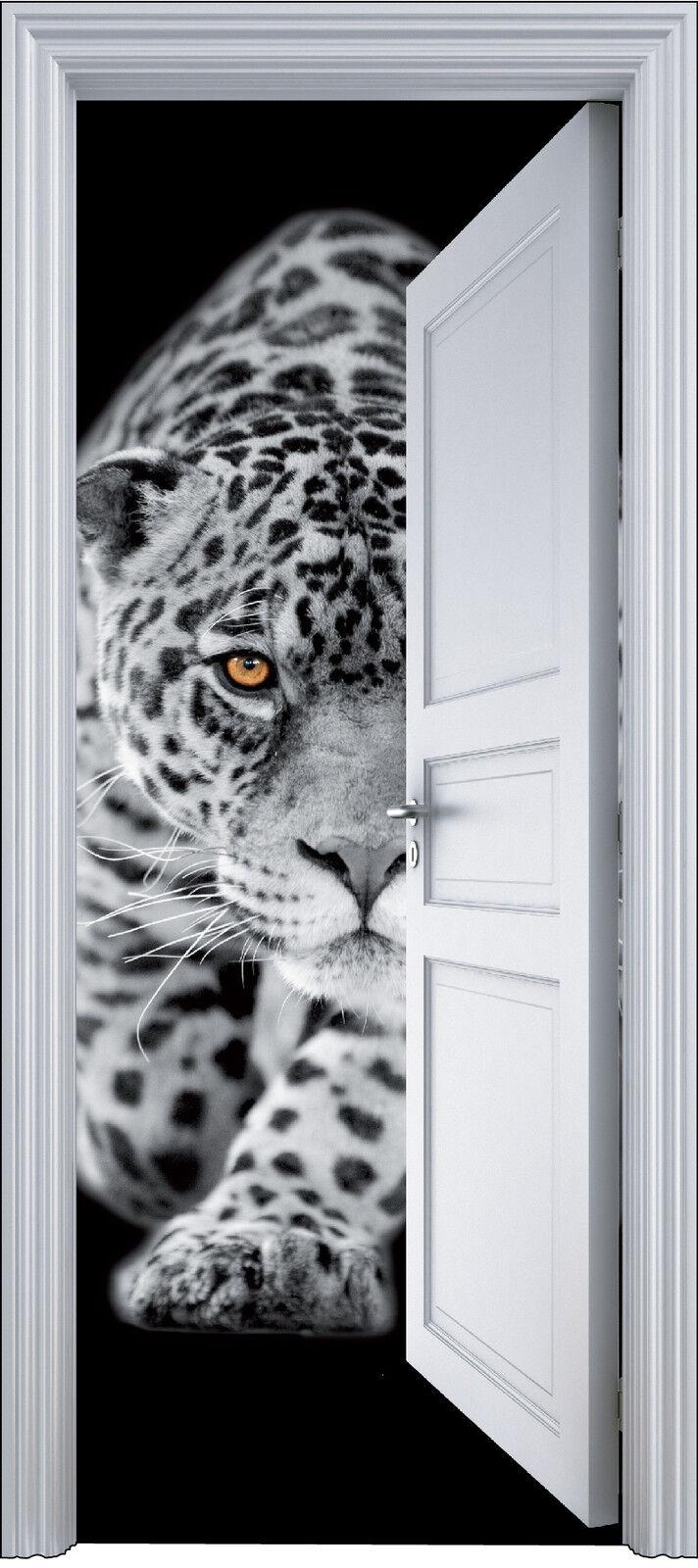 Adhesivo Puerta Trompa Trampantojo Decoración Jaguar 90x200 cm Ref 2104