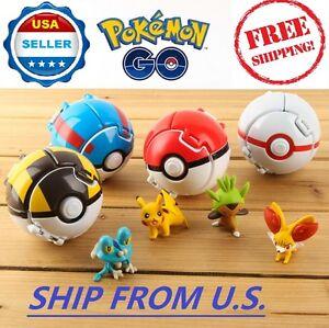 4 x Pokemon Throw Pop Poke Ball Cosplay Pop-up Elf Go Fighting Toy ❶❶US SELLER❶❶