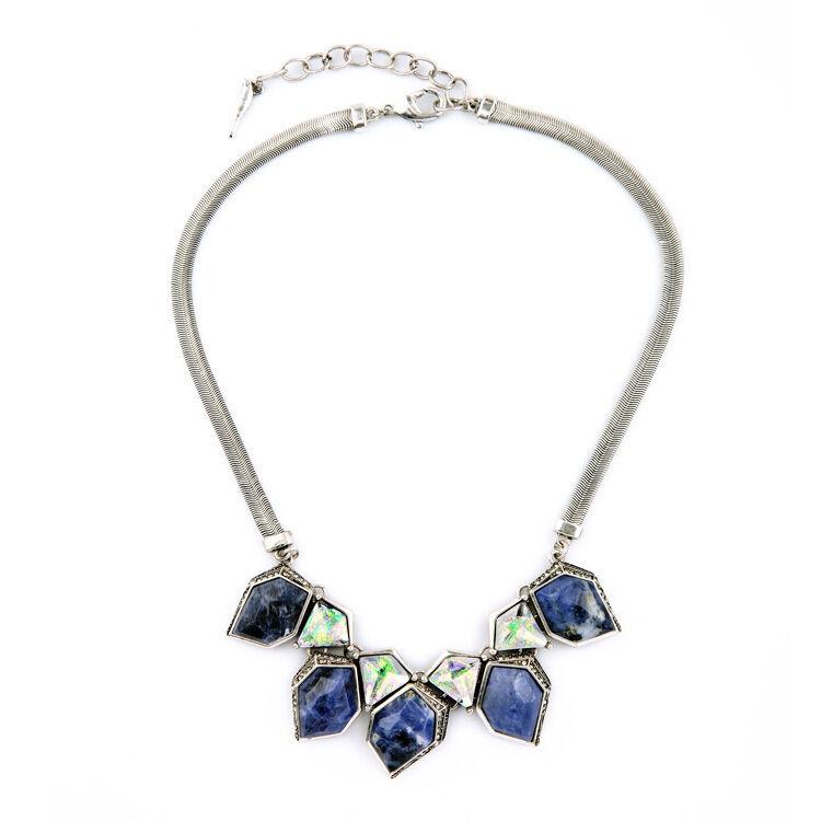 Collar Plateado Art Deco Diamentine Irregular Sodalita blue green Original AZ 1