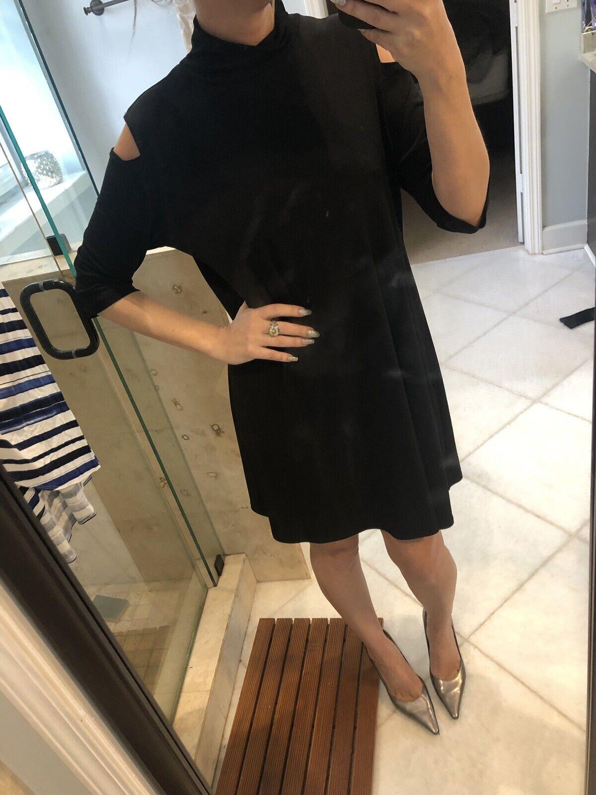 Euc Clara Sun Woo Mock Neck cold shoulder Knit Tunic M Medium  schwarz Dress