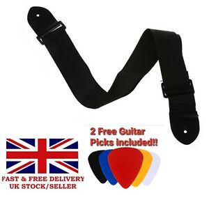 Black-Guitar-Strap-2-FREE-Picks-Included-for-Electric-Semi-Acoustic-Bass