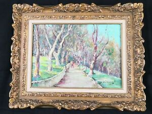 Charles-henri-verbrugghe-impressionist-oil-on-board-artist-signed