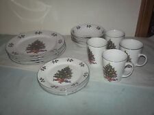Gibson China NOEL MORNING 16pc Christmas Dinnerware Dishes Set Service for 4