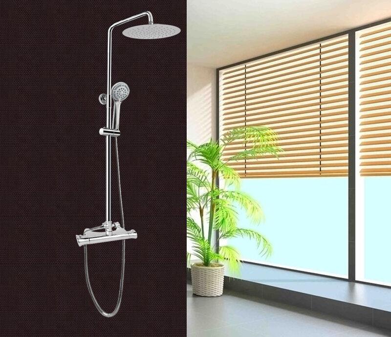 Colonna doccia saliscendi multifunzione con soffione miscelatore termostatico  1