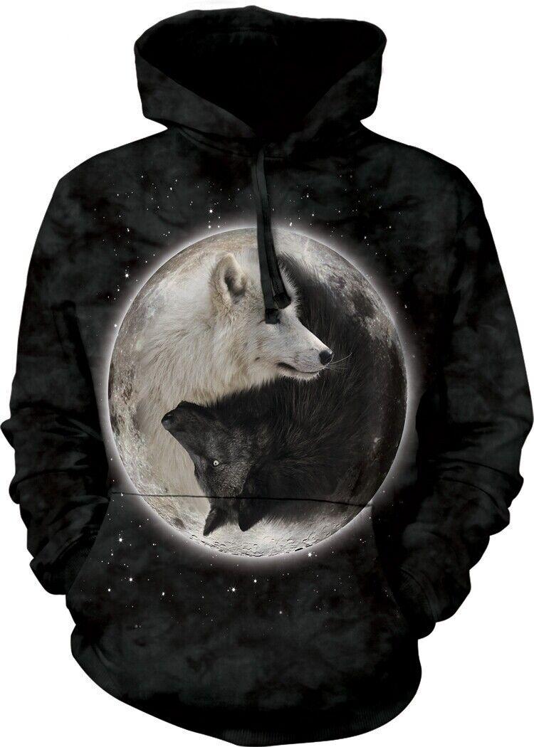 Mountain Unisex Erwachsen Yin Yang Wölfe Tier Kapuzenpulli