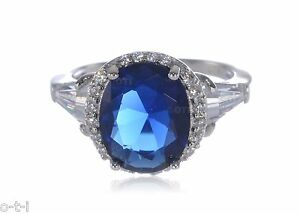 Large-Blue-Sapphire-Oval-Cut-w-White-sapphire-Baguette-Sterling-Silver-Ring