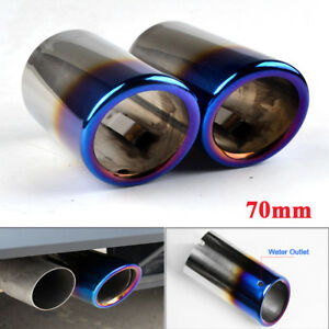 70mm-Blue-Stainless-Steel-Exhaust-Tail-pipe-Trim-Tip-for-VW-Scirocco-Golf-VI-VII