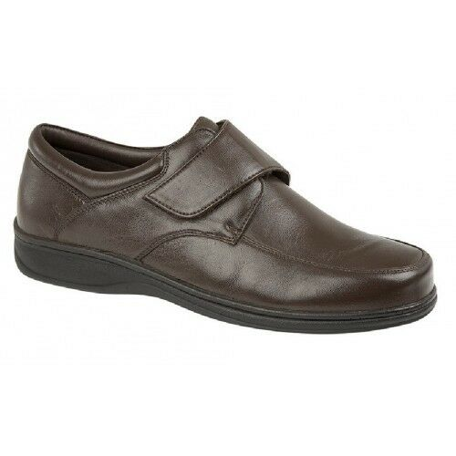 Roamers Leather Touch Fastening Flat Lightweight Casual Everyday shoes. Brown S