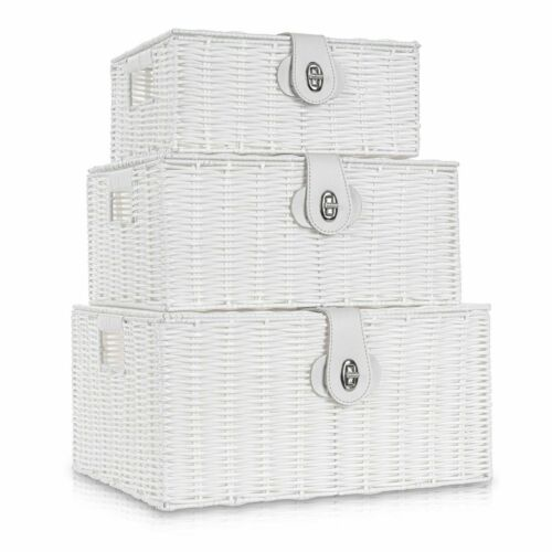 SET OF 3 RESIN WOVEN WICKER XMAS HAMPER BASKET STORAGE BOX WITH LID /& LOCK HOME