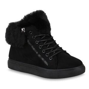 sports shoes 309f4 238d3 Details zu Damen Sneaker High Warm Gefütterte Winter Turnschuhe Kunstfell  820172 Schuhe