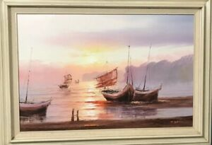 """Maritime, Nautical Oil Painting, By T. Garrison. Very Large. 35"""" x 23"""""""