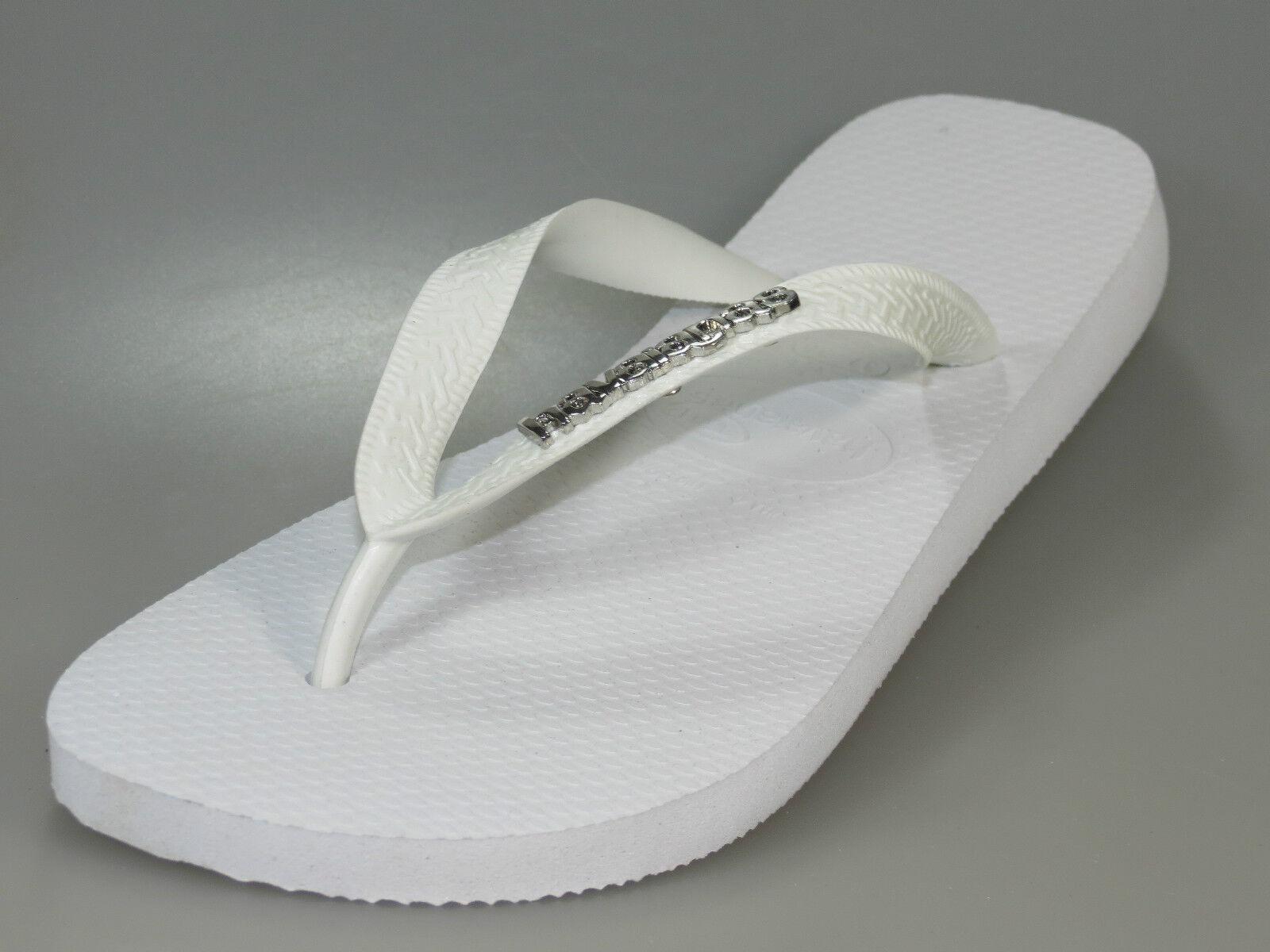 Havaianas top logotipo metálico sandalia blancoo 4.001.108 001 tira dedo + nuevo +