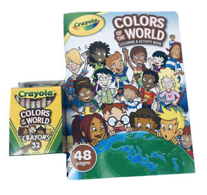 Crayola-Colors-Of-The-World-Coloring-Activity-Book-w-32ct-Crayons-USA-Made-NEW