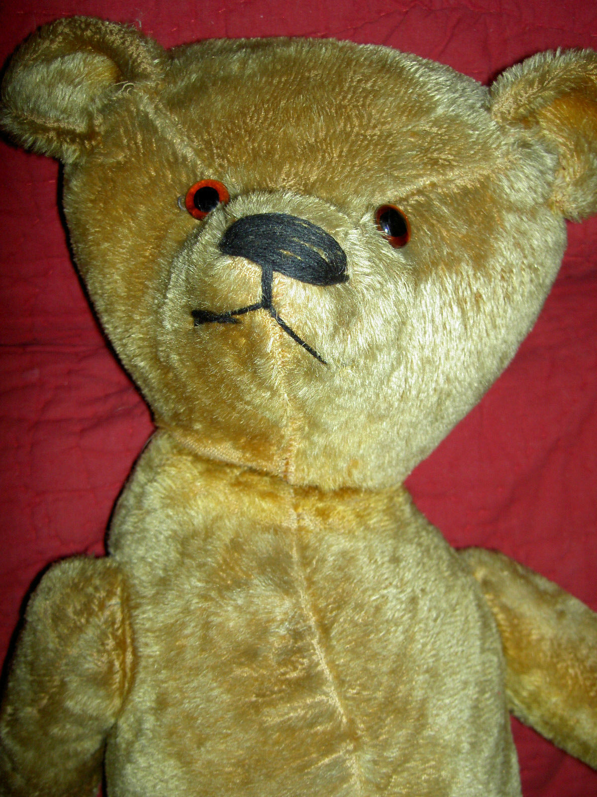 Wonderful large antique, 24  IDEAL, Golden mohair, straw-filled j'td. teddy bear