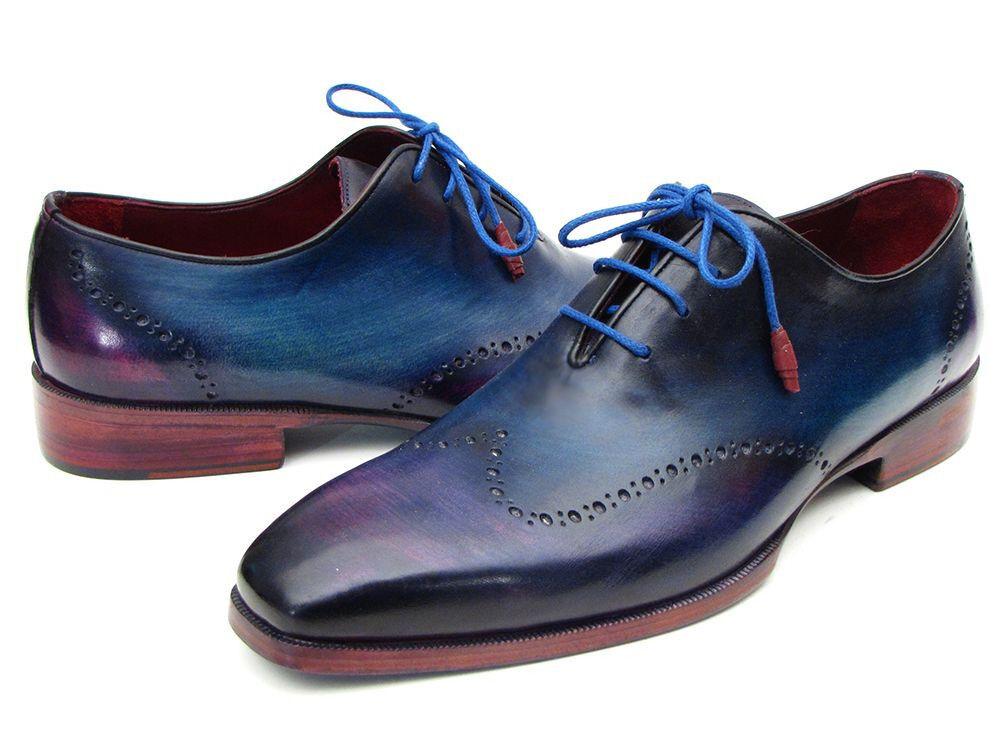 Paul Parkman Blue & Purple Wingtip Oxfords Handmade Leather Man Shoes with Lace Scarpe classiche da uomo
