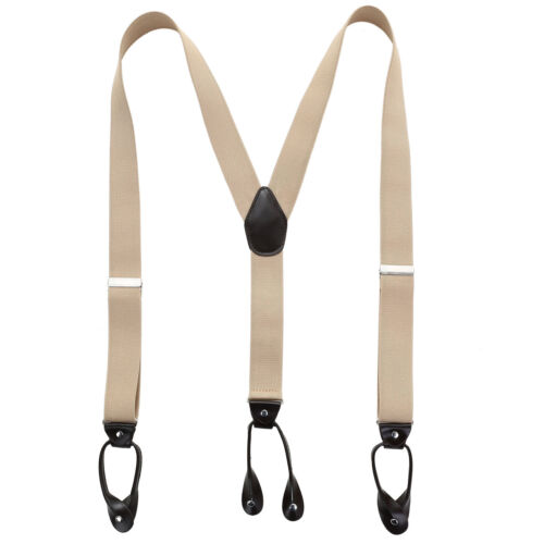 New Solid Elastic Womens Leather Button Holes Braces Mens Adjustable Suspender