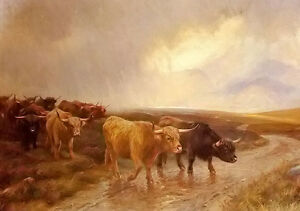 wright-Barker-highland-cattle-cows-crossing-the-creek-no-framed